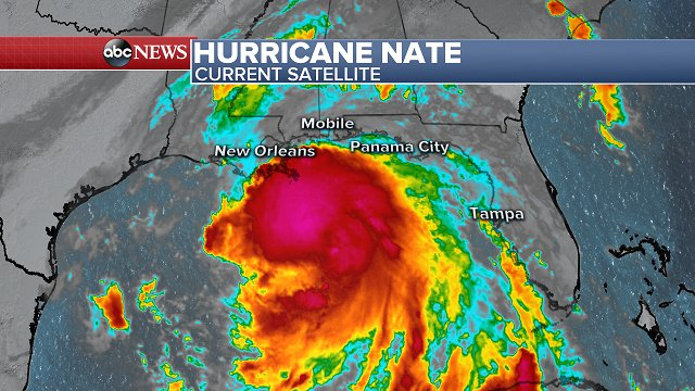 LATEST on Hurricane Nate: https://t.co/uwuEhiJaBH  -Category 1 -Sustained winds of 90 mph -Moving NNW at 25 mph https://t.co/1yxfHCCUtR