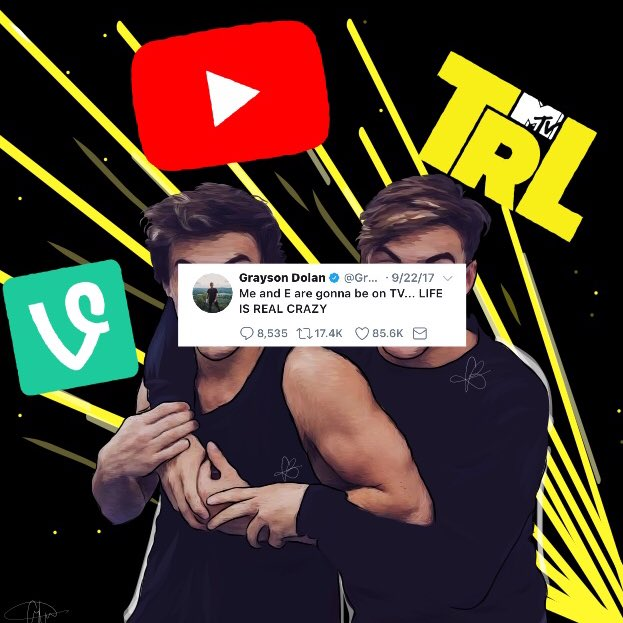 First vine, then YouTube and now TV ✌��✨ // drawing of @EthanDolan and @GraysonDolan   I hope you guys like it �� https://t.co/1YYi6YvrvA
