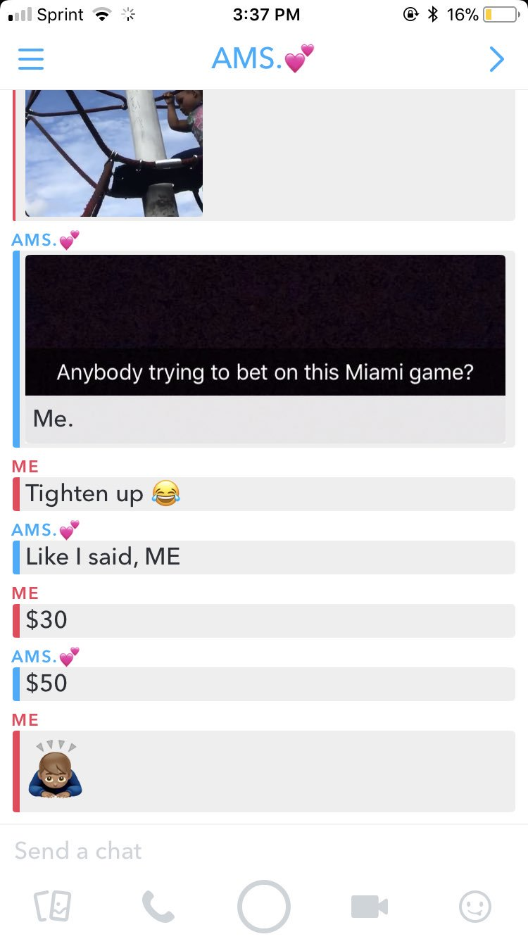 My girlfriend trying to finesse me on this FSU & Miami game �� https://t.co/tJtkZ2r8AO