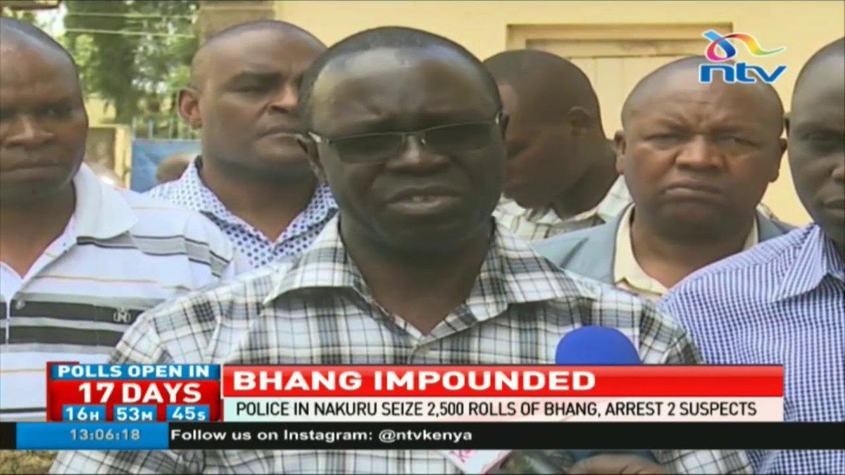 Police in Nakuru seize 2,500 rolls of bhang and arrest two suspects in Nakuru