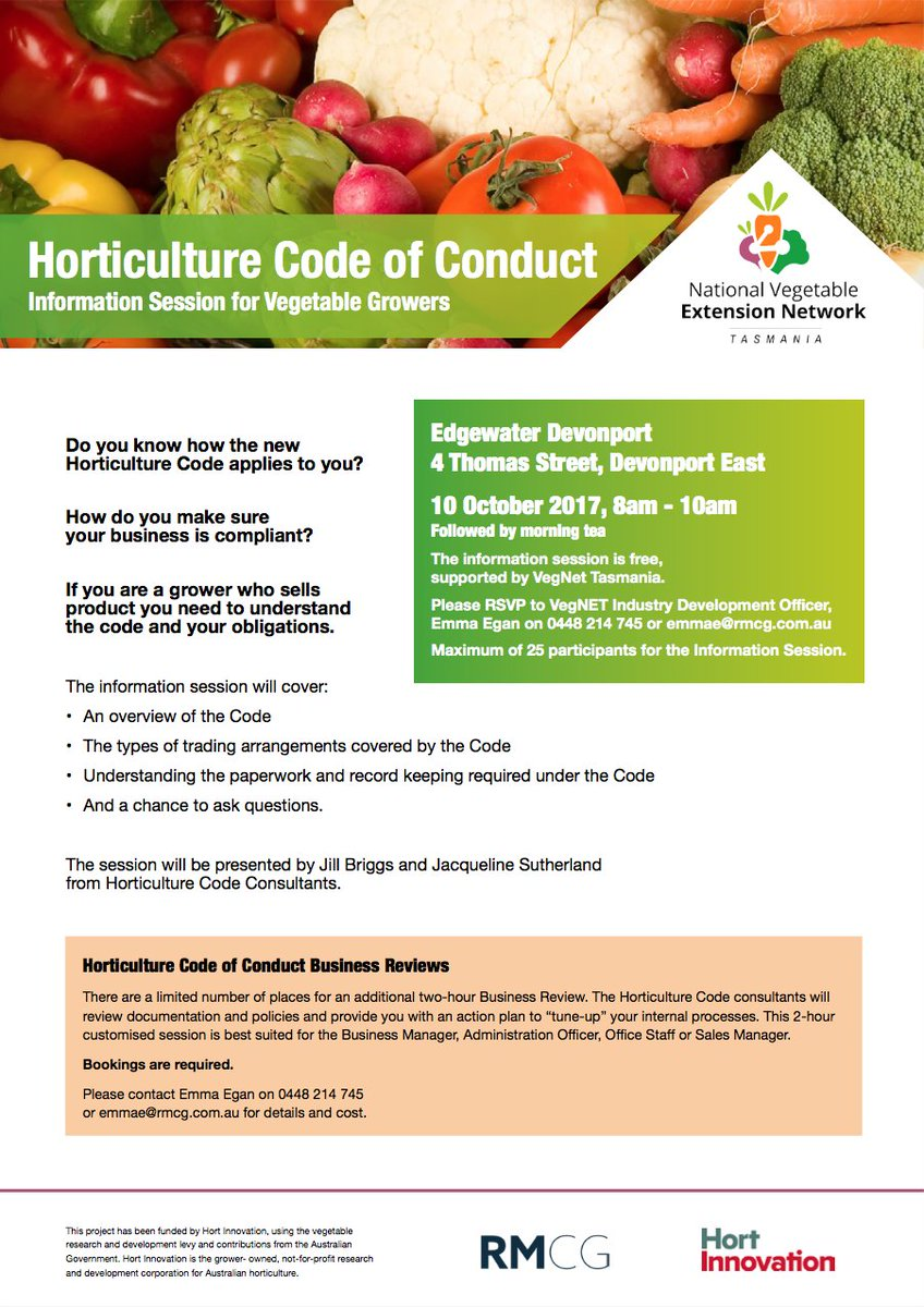Tomorrow in Devonport | Hort Code of Conduct Info...
