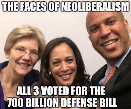 RT @ARTSYJUDITH: Elizabeth Warren, Kamala Harris & Cory Booker voted 'yes' for $700 BILLION defense bill! https://t.co/Hk6BjdjIbn