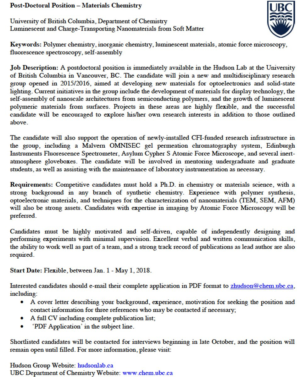 cover letter postdoctoral position chemistry Chemistry cover letter 13 locust street san francisco, ca 94133 (415) 555-1111 macampbell@yahoocom october, 12, 20xx mr ken watanabe director of research.