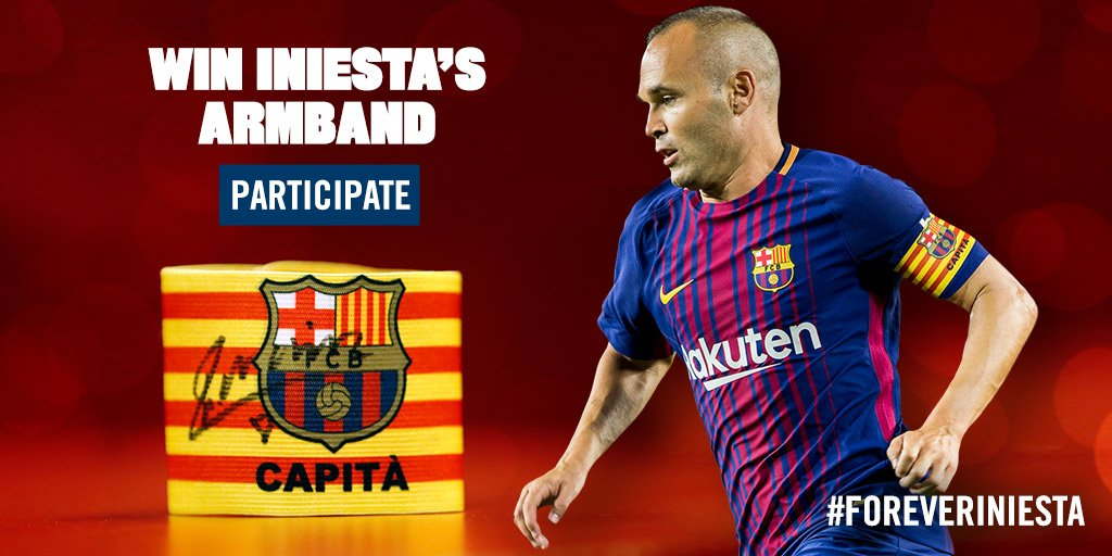 Celebrate renewal #ForeverIniesta. Win his captain's armband. Enter now! https://t.co/dTu3wmKOfj https://t.co/2AlU8nmgyB