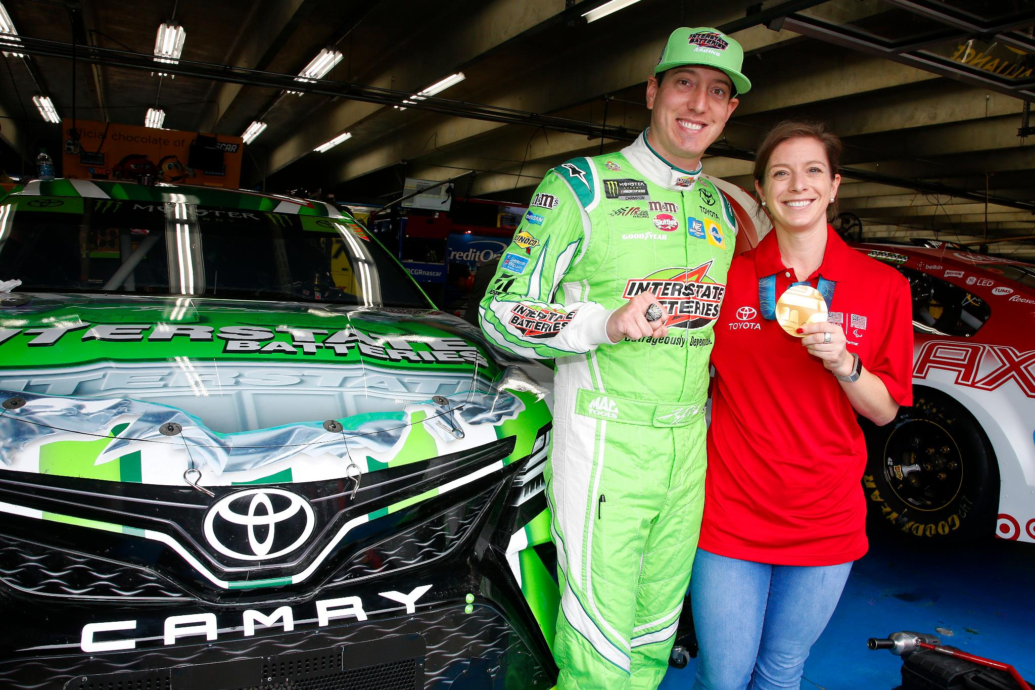U.S. Olympic gold medalist @hk_ski and @kylebusch show off their first place hardware. https://t.co/bd1LKHgUXU