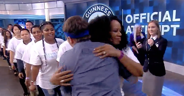 Jason Ritter broke the Guinness World Record for most hugs in 1 minute while on The View: