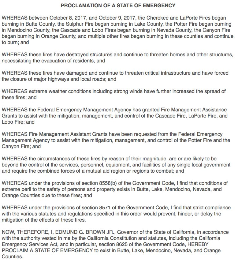 California governor declares state of emergency in five counties due to deadly wildfires. https://t.co/dCNOxFA90F https://t.co/yyuMqRNznF