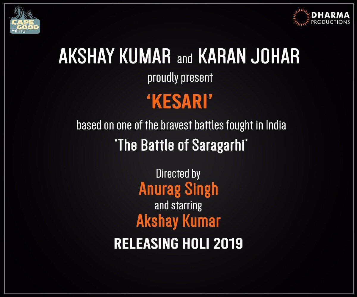 Extremely excited to see this exceptional and brave story unfold!!! @akshaykumar #KESARI #holi2019