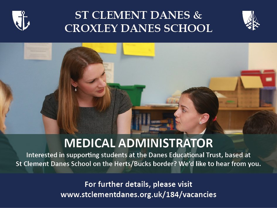 The closing date for the role of Medical Administrator at St Clement Danes is 16th Oct. For details, please see: https://t.co/0HyaaPjueH https://t.co/lsqf0VAfYe
