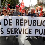Thousands join French public sector strike against President Macron's cost-cutting agenda