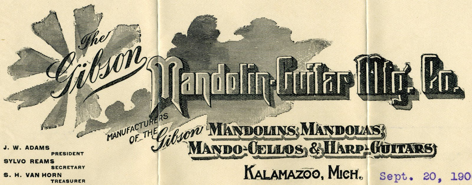 115 years ago today, the Gibson Mandolin guitar company was formed. https://t.co/m16F9aGU5h