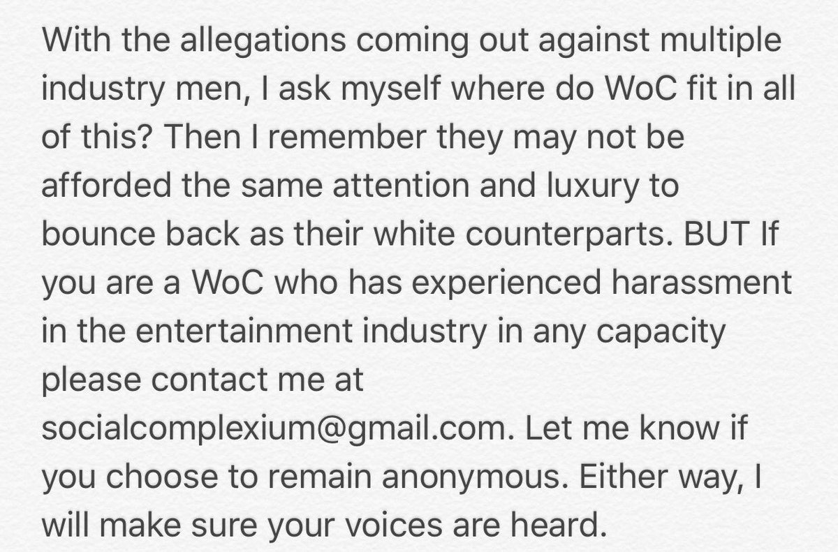 RT @ValerieComplex: For women of color in the industry who may be afraid to speak out... https://t.co/LYeLmI3oLW