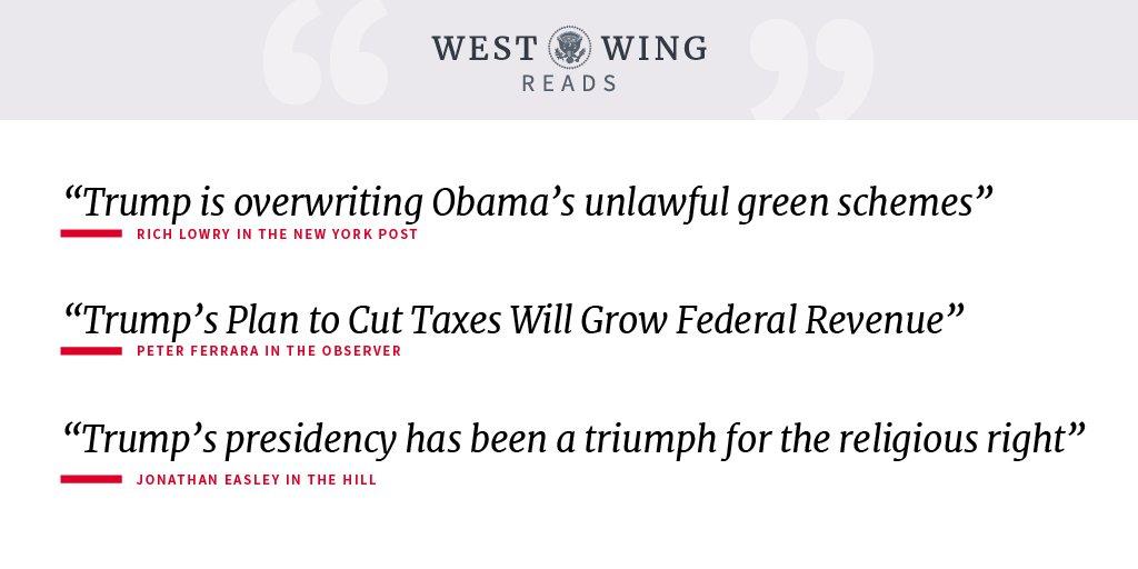 Here is what the West Wing staff is reading today: https://t.co/klBlWqZ7N6 https://t.co/DXL5EufnTD