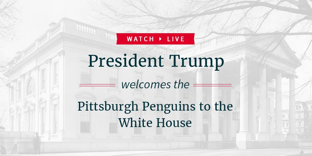 Watch LIVE as President Trump welcomes the Pittsburgh Penguins to the White House: https://t.co/yrLZveZPPS https://t.co/r0cW7hNKGQ