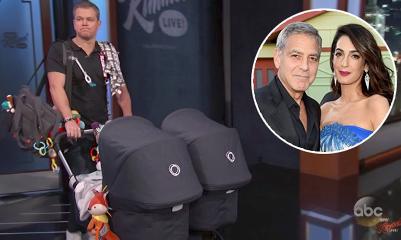 George Clooney's twins make TV debut with 'manny' Matt Damon. Watch the hilarious clip: