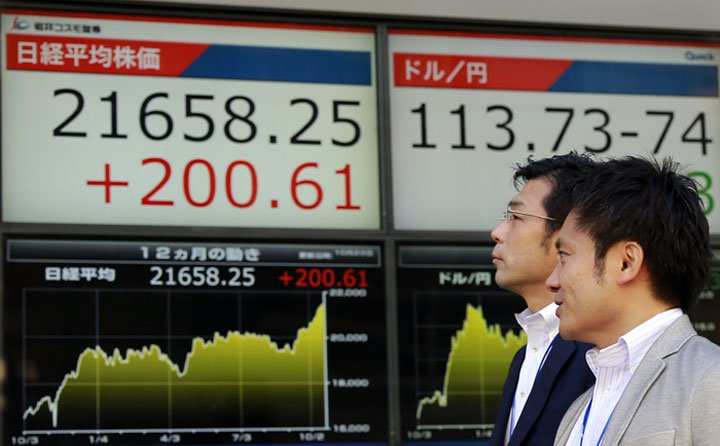 @BroadcastImagem: Com vitória de Abe, Bolsa de Tóquio fecha em alta pelo 15º pregão consecutivo. Shizuo Kambayashi/AP