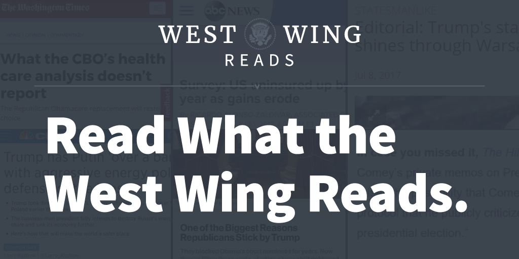 Read the best stories the West Wing is reading.  Sign up for West Wing Reads: https://t.co/sOcZGeXy8e https://t.co/BmWYVlhlRm