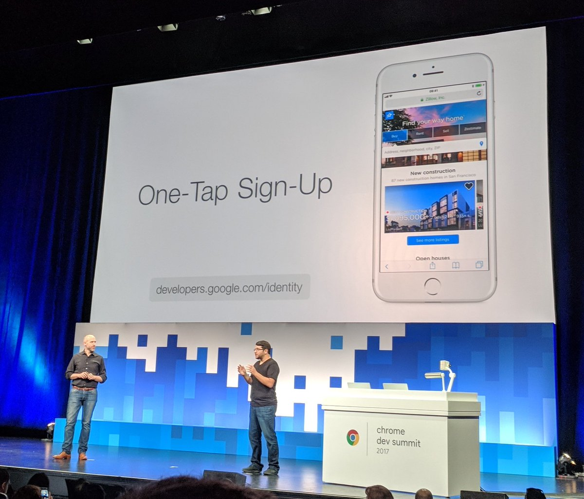 Finally unified sign-in experience for any auth provider! Single click to login. Awesome! #ChromeDevSummit https://t.co/L3QzIAb4Lg