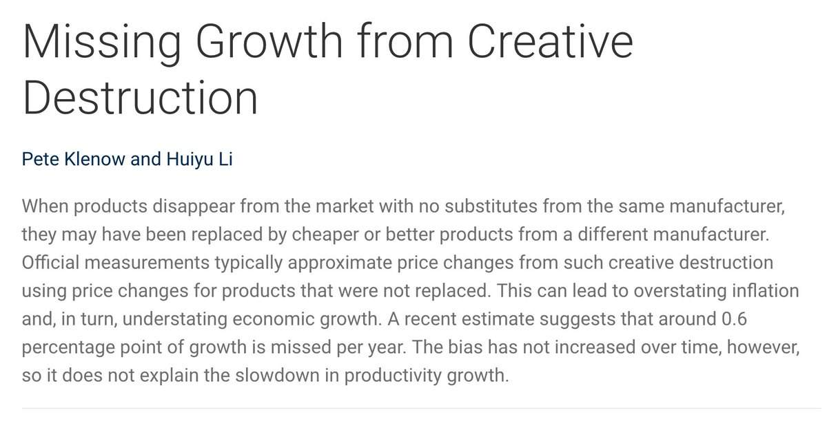 Missing Growth (nearly 0.6% per year on average) from creative destruction  via @sffed https://t.co/o0sPrz6RS2 https://t.co/CGrde7MVqW