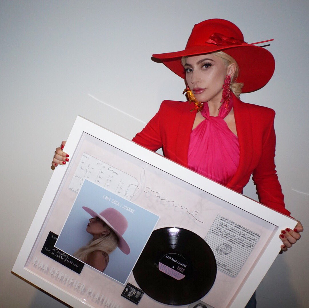 RT @ladygaga: #JoanneIsPlatinumParty let's trend it! Love you monsters! My family is so happy today! https://t.co/yFVW9lArlQ