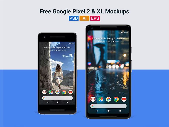 Google Pixel 2    Mockup by GoodMockups freebie