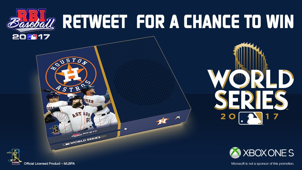 Got a treat for one lucky soul. RT for a chance to win your very own exclusive @RBIGAME @Astros #WorldSeries @Xbox One S! https://t.co/SmhLyv4SHM