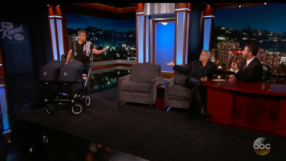 "George Clooney's ""twins"" make their TV debut on JimmyKimmelLive...kinda"