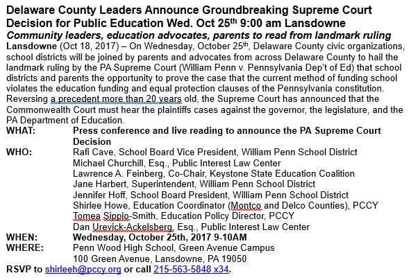 Delaware County Leaders Announce Groundbreaking Supreme Court Decision for Public Education Wed. Oct 25th 9:00 am Lansdowne https://t.co/Izh8fnrNjT