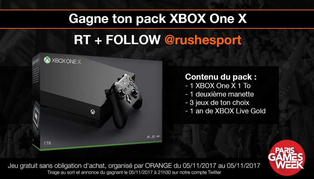 💥 Concours #OrangePGW n°5 💥  👉 RT+FOLLOW @rushesport pour tenter de gagner un pack XBOX One X ! #PGW