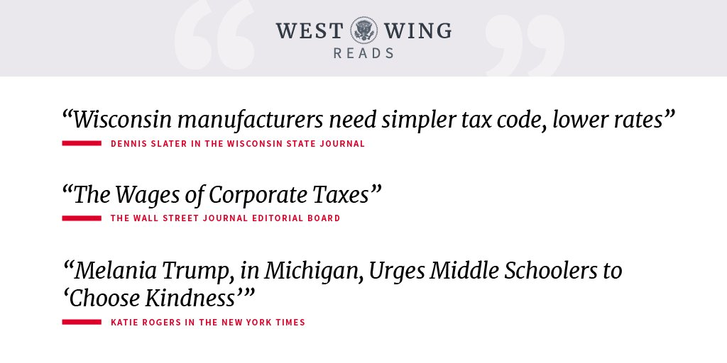 Stay up to date with what the West Wing staff reads each day: https://t.co/m6MCxHWykk https://t.co/msVwfRyAH6