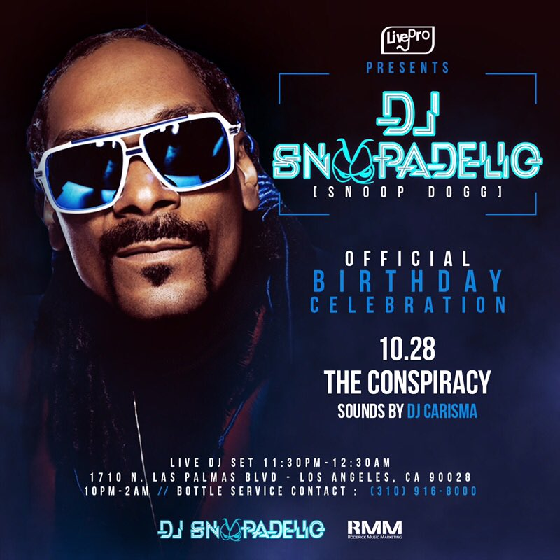 .@Theconspiracyla come check me out DJ SNOOPADELIC OCT 28th my first stop of the night live DJ set 1130-1230 ???????? https://t.co/xu3LjmbG9A