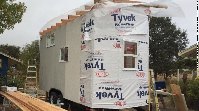 A contractor is building three tiny homes to help California wildfire victims