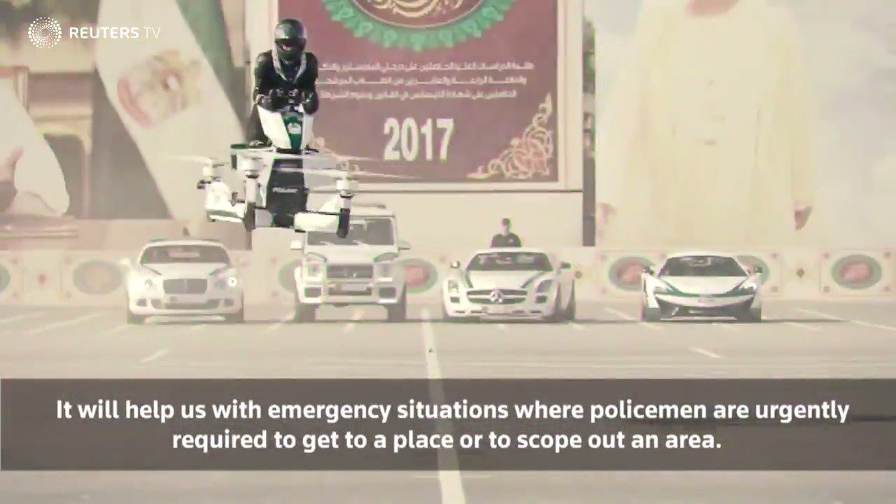 WATCH: Dubai police eye the skies with new 'hoverbike' https://t.co/3wBmB9Ddqe via @ReutersTV https://t.co/JPjkxnMvQk