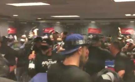 WATCH: #Cubs' locker room celebration after NLDS win: https://t.co/CZkI1sOjnH https://t.co/7MTWE51kW1