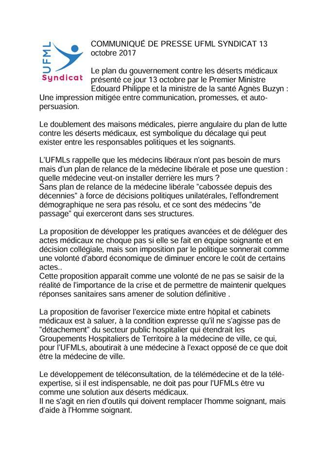 #desertsmedicaux Communiqué de presse de l'UFMLs suite @l'annonce du plan de lutte contre les déserts médicaux. https://t.co/VFnkKhCdQ7