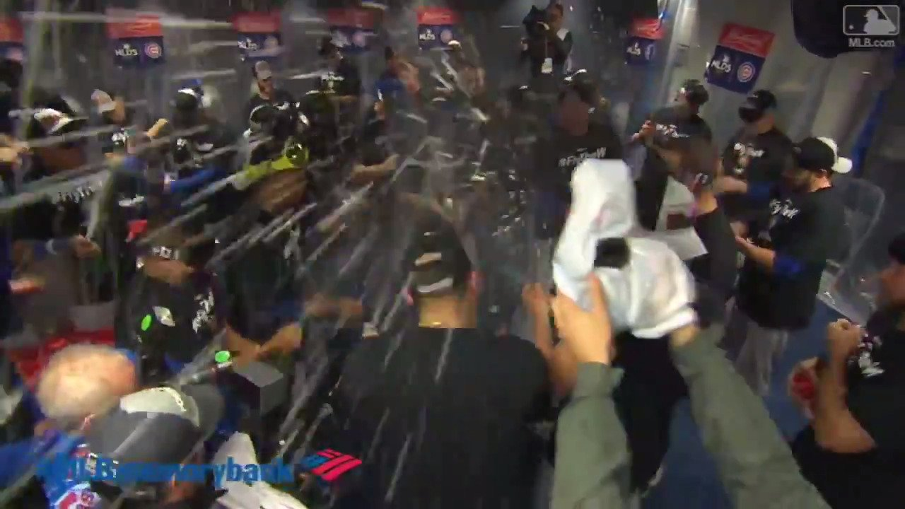 Fly the W. Pop the bottles.  The @Cubs are back in the #NLCS. #CLINCHED https://t.co/eEYJpRcrNX
