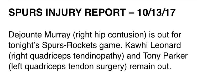 Dejounte Murray is out for tonight's preseason game in Houston. https://t.co/9q21PGaYH0
