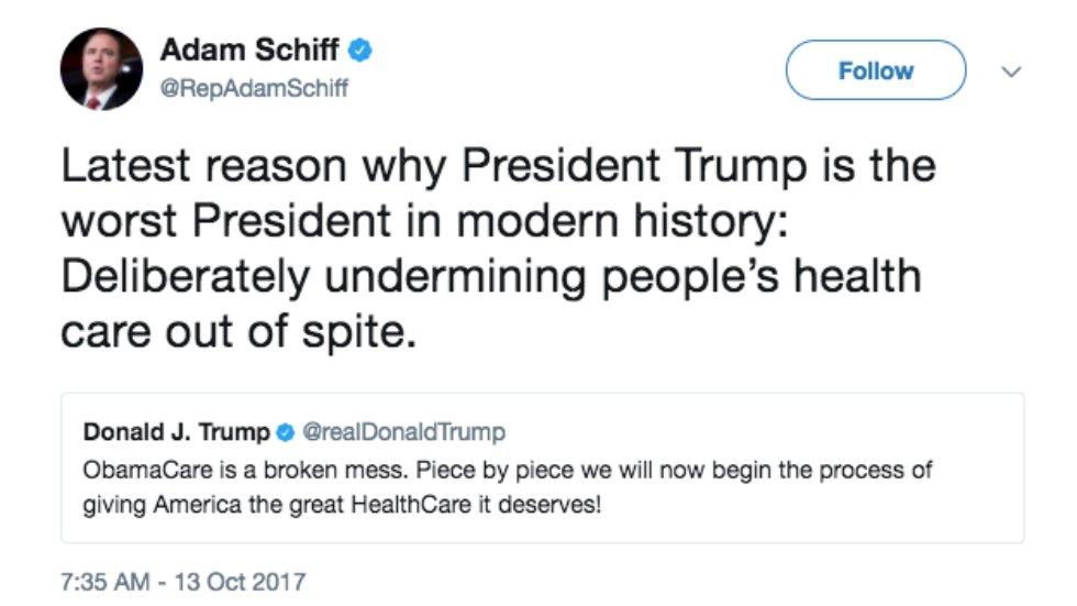 Dem lawmaker: Trump is 'deliberately undermining people's health care out of spite' https://t.co/pgoJvpshd1 https://t.co/UsxK2EhBkX
