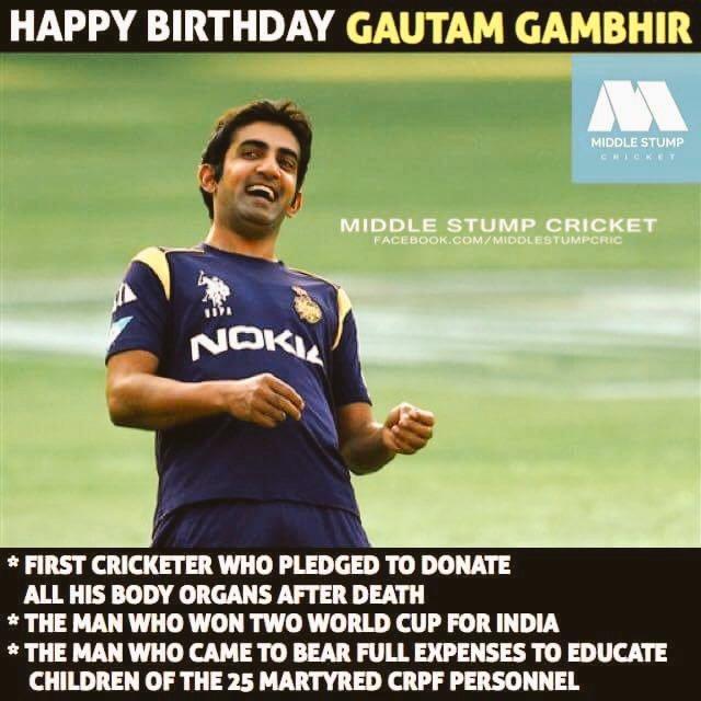 Happy birthday GAUTAM GAMBHIR sir
