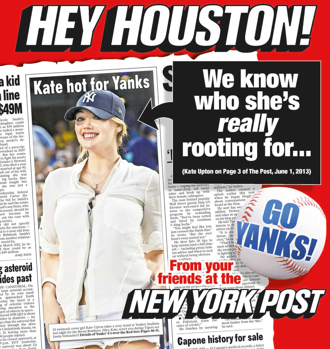 New York Post pokes fun at Houston with Kate Upton ad