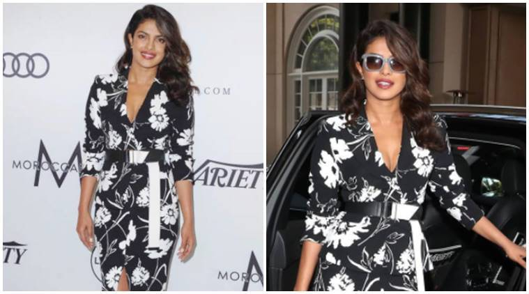 Priyanka Chopra's boring black-and-white Michael Kors dress is quite a letdown