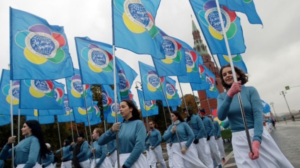 Russia hosts Soviet-style youth festival as Putin woos under-30s