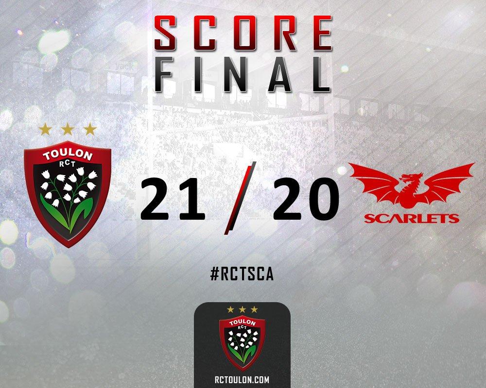 #RCTSCA : c'est fini, victoire 21-20 du @RCTofficiel sur les @scarlets_rugby https://t.co/qcWzc04Lsd