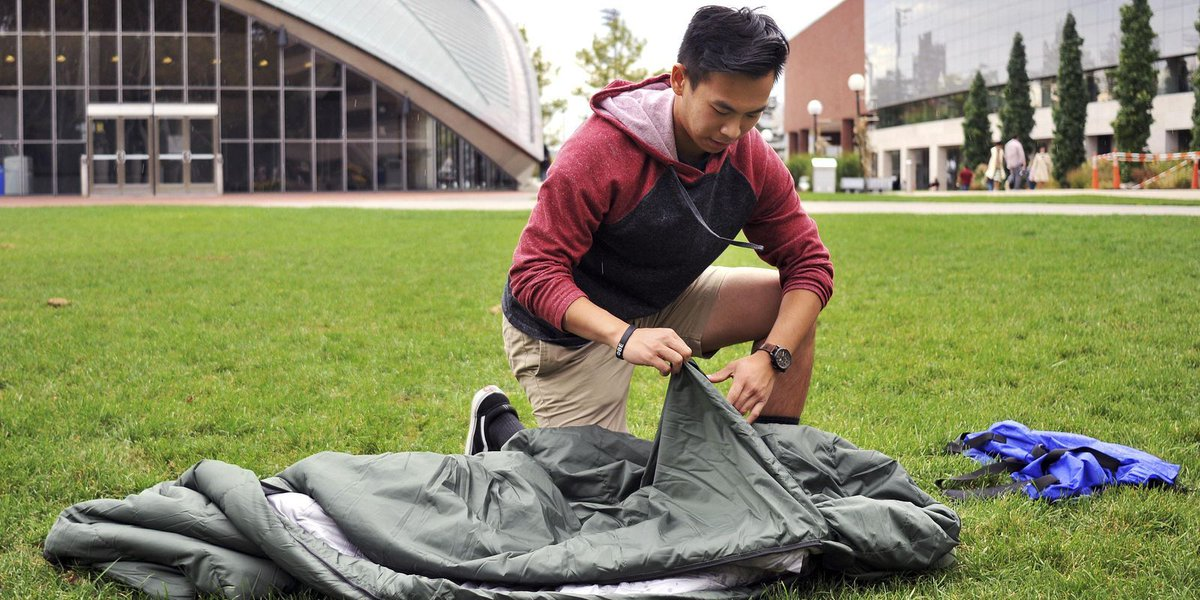 MIT student making sleeping bags for refugees