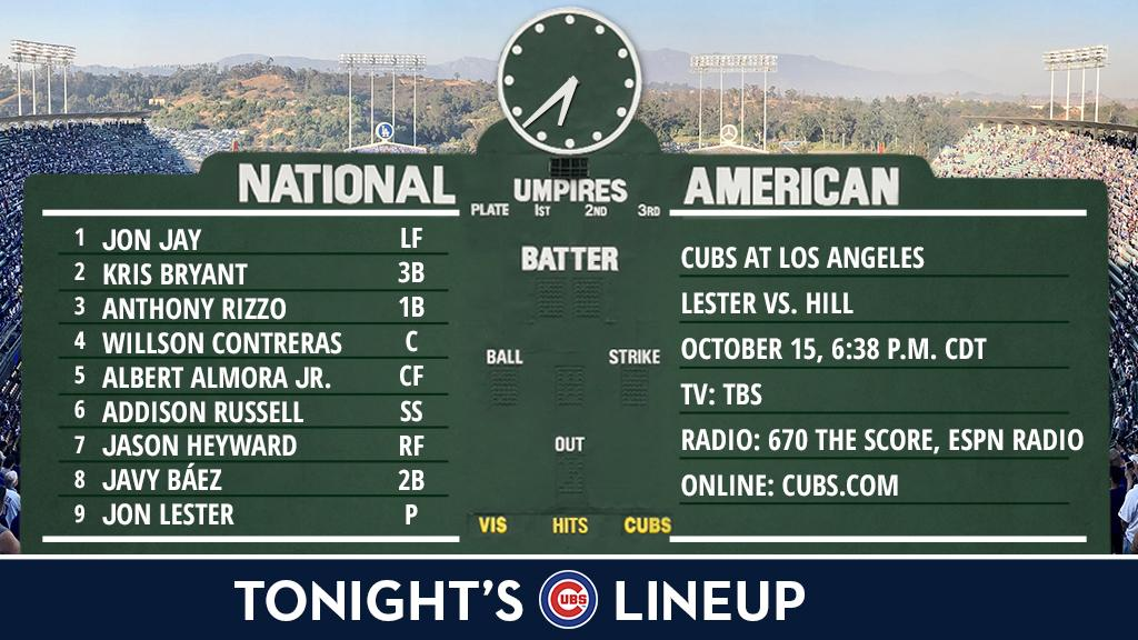 Here is tonight's #Cubs starting lineup.  NLCS Game 2 preview: https://t.co/A5h7ZpkGCe #FlyTheW https://t.co/KX2cKFhtgz