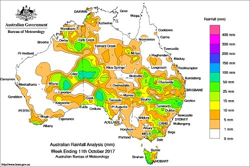 Highest recorded rainfall total in wk to 11/10...