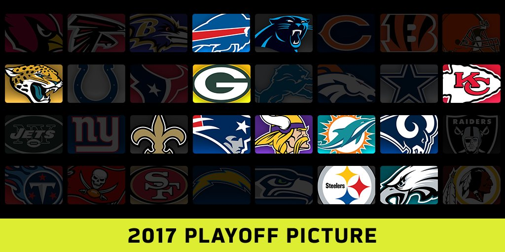 Which teams are in? Which teams are in the hunt?  2017 NFL Playoff Picture: https://t.co/LJMHjGnJ10 https://t.co/yUJncUh6jZ
