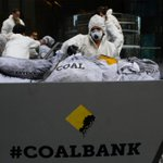 Greenpeace dumps 100 bags of coal at Commonwealth Bank headquarters