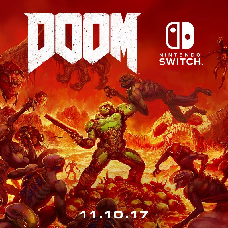 Rip and tear through the demon hordes in #DOOM, coming to #NintendoSwitch on November 10th! https://t.co/jiat3dny6Q