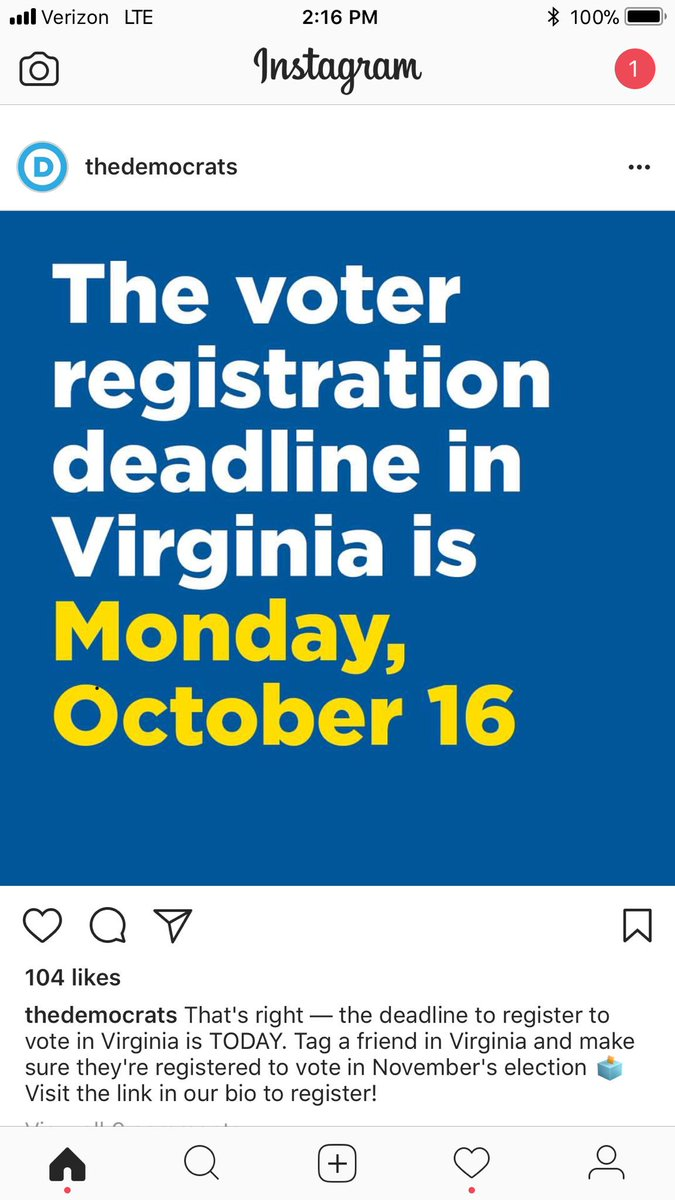 If your in Virginia, make sure you are registered for the governor's race. Deadline today.